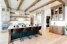 Modern Farmhouse Interiors, Modern Farmhouse Design, Interior And Exterior, Interior Design, Wood Beams, Custom Cabinetry, Home Living Room, Cool Kitchens, Solitude