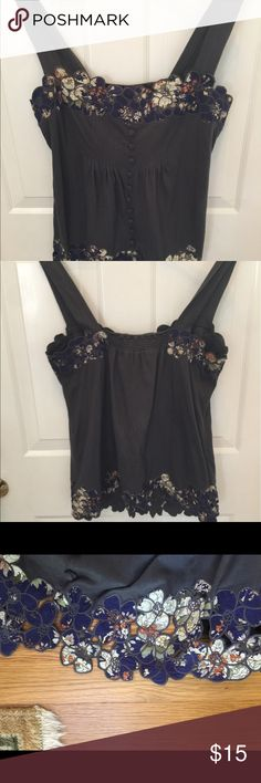 Anthro unique tank top Love this tank!  Love the detail on the bottom...the flowers are open cut so your bottoms show though! Anthropologie Tops Tank Tops