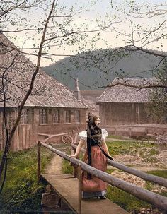A girl of the Black Forest. This color photochrome print was created between 1890 and 1900 in Baden, Germany.
