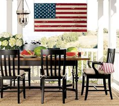 Painted American Flag Wall Art American Flag Wall Art, Pottery Barn Style, Outdoor Furniture Sets, Outdoor Decor, Outdoor Spaces, Interior Design Services, Memorial Day, Tablescapes, Outdoor Living