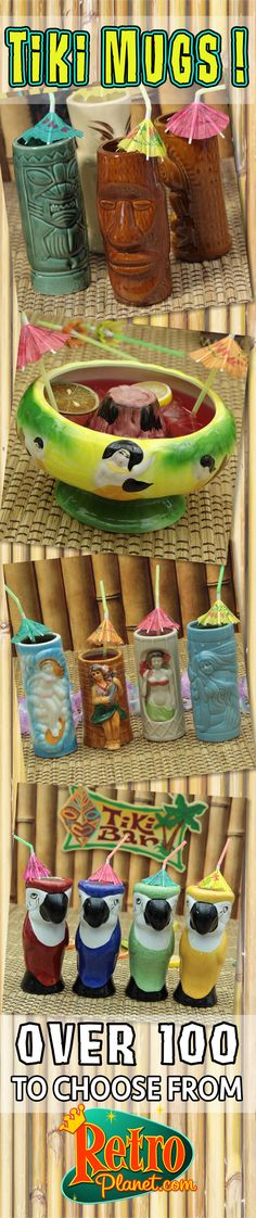 Our tiki decor and party supplies will turn any old gathering into a Hawaiian luau. Tiki culture is back in style, and we have a huge selection of vintage-style tiki mugs, lamps, signs, wall decals, dashboard hula dolls and more - everything you need for that classic tiki bar feel. Let our cool hula doll video put you in the island mood!