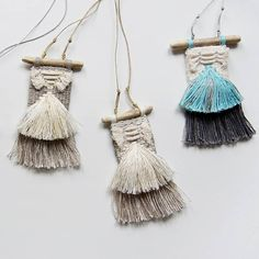 Woven necklace with a boho mood - linen with golden threads. Ideal for clothing loose fit! Dimensions • Width 1.8 in, length 4 in – the necklace is placed in the palm of your hand; • Thickness 0.15 in – the pendant is quite dense; • The length of the cotton cord is 13 in – it is