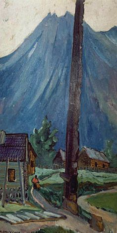 Hazelton Totem (oil on paperboard) Emily Carr Canadian Painters, Canadian Artists, Emily Carr Paintings, Group Of Seven Paintings, Vancouver Art Gallery, Art Criticism, Canada, Art Impressions, Impressionist Paintings