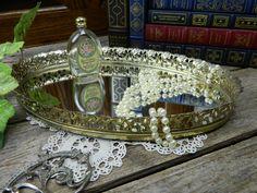 Mid Century Vintage Oval Vanity Mirror Dresser Tray Filigree by allthatsvintage56 on Etsy