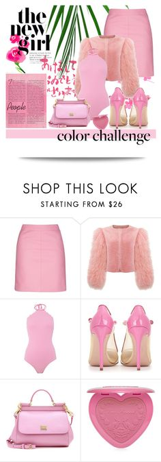 """Naughty Poodle"" by jazminelizette ❤ liked on Polyvore featuring L'Agence, Topshop, Kate Spade, Salvatore Ferragamo, Dolce&Gabbana and Too Faced Cosmetics"