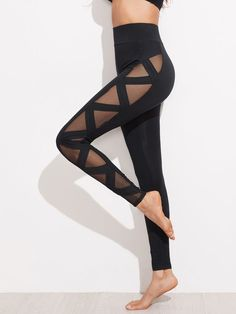 Online shopping for Mesh Panel Bandage Leggings from a great selection of women's fashion clothing & more at MakeMeChic. with leggings Mesh Panel Bandage Leggings Sporty Outfits, Cute Outfits, Fashion Outfits, Womens Fashion, Fashion Styles, Cute Leggings, Tops For Leggings, Printed Leggings, Leggings Sale