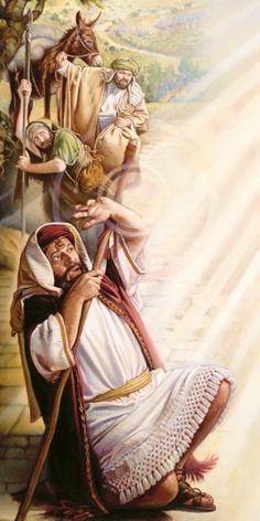 Una luz del cielo deslumbra a Saulo y él cae al suelo
