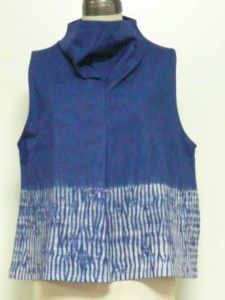 Indigo shibori top by Isshin-do