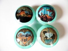 Set of 4 Western Cowgirl Drawer Knobs..Rustic Distressed Turquoise Furniture & Cabinet Pulls Nail Covers for Country Girls by CountryChicShoppe on Etsy