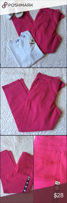 Style&Co Bright Pink Jeans W/ Bonus top NWOT These jeans have a Tummy Control.  Straight leg opening. Pretty when you want a pop of color.  The pants inseam is approx 29 1/2 inches and the waist is approx 36 inches. Waist has some stretch. Pockets have a cute design. Included is a white vneck top. Size XL 95% Cotton 5% Spandex  Machine wash/dry low. The length is 24 inches. The bust from one armpit to the other on the front only is 23 inches. Lots of stretch.  Bundle and save 20% Style & Co…