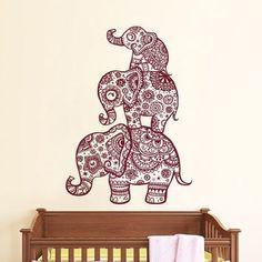 Wall Decal Elephant Vinyl Sticker Decals Home Decor Murals Indian Elephant Floral Pattern Mandala Tribal Buddha Ganesh Yoga Bedroom Dorm AL4
