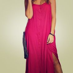 Button Down Maxi Dress New never been worn Fuchsia Maxi Dress. Fasten all the buttons for a polished look, or unbutton a few from the top to get a more edgy look. Side Slits Dresses Maxi