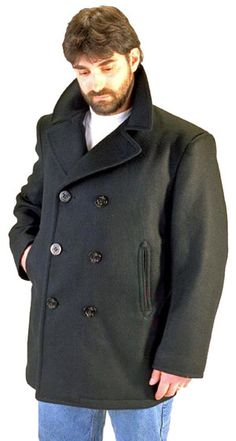 6a81d273f84 Buy now Men s Authentic Navy Pea Coat featuring a modern super warm fleece  lining. Same Anchor design buttons as the official wool pea coat