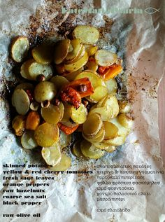 Hazelnuts and sage make that twist on skinned potatoes, cherry tomatoes and orange peppers #vegetarian #vegan #dairyfree #glutenfree