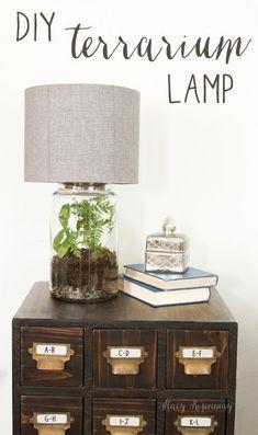 Easy DIY Terrarium Lamp | Stacy Risenmay #diylamp #diylampshade #lamp #terrarium #terrariumlamp