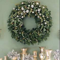 Fresh winter wreath.- raid your garden and old Holiday decorations to make this stunning wreath!