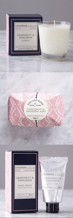 Uplifting and refreshing grapefruit and tangerine scented hand cream, soap and candle. Paraben free and made in Portugal.