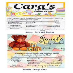 """Baby Shower Candy Bar labels (no bars included) 4 styles.  Each personalized label is suitable to be sealed around a 5.25""""x 2.25"""" Hershey's chocolate bar (using a glue stick).  $.85 per label."""