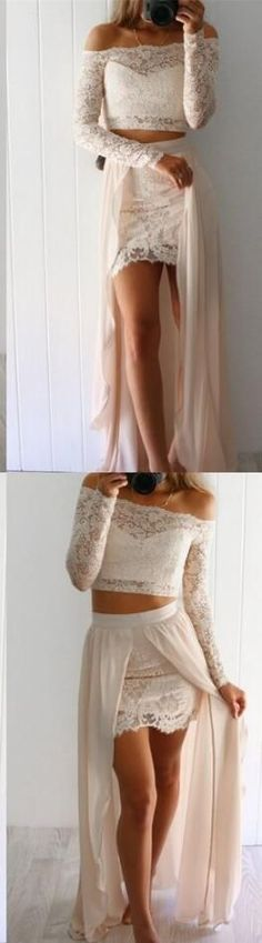 Sexy Lace Prom Dress,Cheap Prom Dress,two piece long prom dresses,long sleeve lace prom dress,off the shoulder party dress,bodycon dress for teens #bodycondresshomecoming
