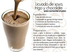 Licuado de soya, trigo y chocolate para aumentar de peso