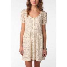 """Kimchi Blue Cream Lace Dress Kimchi Blue Cream Lace Dress from Urban Outfitters Size M 53% Rayon, 47% Nylon Length: approx 31"""" Sleeve length: approx 2.5"""" Chest: approx 18""""  OFFERS WELCOME ❌NO trades❌ Urban Outfitters Dresses"""