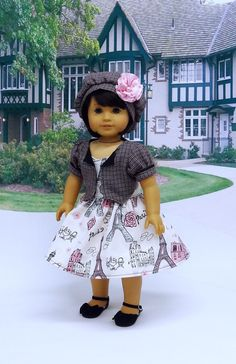 French Tourist- sundress, jacket and beret set for American Girl doll