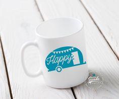 Happy Camper Coffee Mug ~ Vintage camper, glamping, travel trailer, vacation, wanderlust mug by SuzySwedeCreative on Etsy https://www.etsy.com/listing/280093546/happy-camper-coffee-mug-vintage-camper