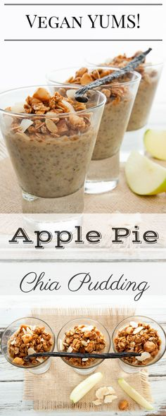 Apple Pie Chia Pudding is perfect for breakfast or a sweet treat! The granola and cinnamon makes it taste just like Apple Pie. No refined sugars, Vegan and GF. (Cheese Making Raw Vegan) Vegan Sweets, Healthy Sweets, Vegan Desserts, Healthy Snacks, Healthy Eating, Delicious Vegan Recipes, Raw Food Recipes, Yummy Food, Cooking Recipes