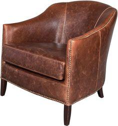 One Kings Lane Madison Leather Club Chair, Saddle