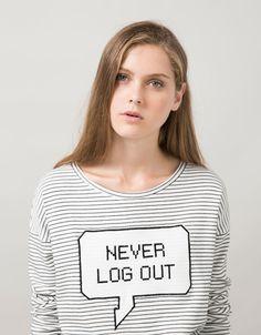 BSK striped sweatshirt with patch and text - Sweatshirts - Bershka Turkey