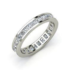 Double princess cut eternity bands....one on each side of a solitaire engagement ring