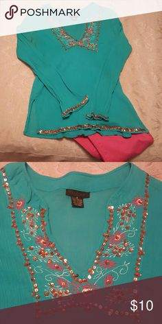 Sequin embellished Top Long sleeve, detailed with sequin & embroidery, lightweight top, Turquoise Tops Tunics