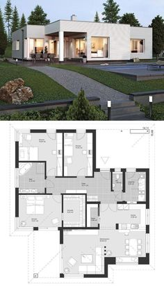 """Modern bungalow of contemporary European style Architecture Design House Plan . - Modern bungalow in contemporary European style Architecture Design House Plan """"EL … – Crafts Bl - Modern Home Design, Contemporary House Plans, Modern House Plans, Contemporary Design, Modern Bungalow House Design, Bungalow Designs, Contemporary Architecture, One Floor House Plans, European House Plans"""