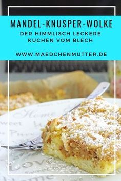 The colleague cake from the tin, perfect for the office / The almond crunch cloud – mother of the girl - Kuchen Rezepte Healthy Dessert Recipes, Smoothie Recipes, Cookie Recipes, Cake Tins, Fall Desserts, Cookies Et Biscuits, Ice Cream Recipes, Food Cakes, Bakery