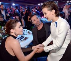 Actors Emma Watson, Hugh Jackman, and Millie Bobby Brown attend the 2017 MTV Movie And TV Awards at The Shrine Auditorium on May 2017 in Los Angeles, California. Mtv Movie Awards, Tv Awards, Hugh Michael Jackman, Hugh Jackman, Cast Stranger Things, Stranger Things Netflix, Prince Charmant, Movies And Series, Film Serie