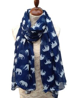 Navy elephant Scarf ¦ Elephant Print Scarves ¦ Blue Scarves