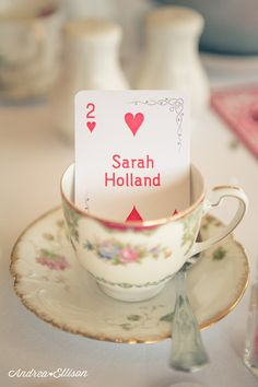 Playing card as place name - could hand write name on.