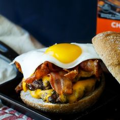 Bacon, Egg, and Cheese Breakfast Burger