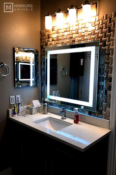 Mirrors and Marble™ brand commercial grade wall-mounted rectangular LED bathroom vanity makeup mirror, 60 inches wide, 36 inches tall. Washroom Design, Sink Design, Bathroom Design Luxury, Bathroom Design Small, Dream Bathrooms, Amazing Bathrooms, Small Bathrooms, Home Room Design, Home Interior Design
