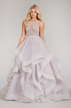 Hayley Paige 2014 purple plum airy wedding dress at Blush Bridal Lounge in Austin, TX