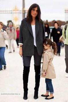 Emanuelle Alt; black over knee boots, dark grey pants, white top, grey coat