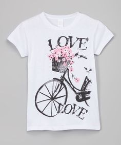 Look at this White 'Love' Bicycle Tee - Girls on #zulily today!