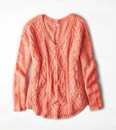 Neon Melon AEO Cable Knit V-Neck Sweater