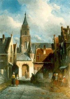 Charles Henri Joseph Leickert (1816-1907) De Jacob Pronkstraat geschilderd in 1850. Links en rechts de Torenstraat, de huidige Jacob Pronkstraat gezien naar de Oude Kerk. Het schilderijen geeft een geromantiseerd beeld van de Torenstraat met op de achtergrond de Oude Kerk aan de Keizerstraat.