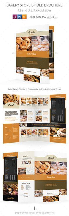 Bakery Store Bifold / Halffold Brochure 2 by Mike_pantone *Save with Bundle! Bakery Store Print Bundle is also available. Bakery Store Bifold / Halffold Brochure 2 Clean and modern bi-fold