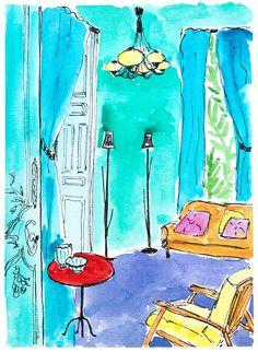Blue room painting. Modern art wall decor. Home art watercolour. Ink drawing wall art. Bright painting. Home gift. Original art.Office decor