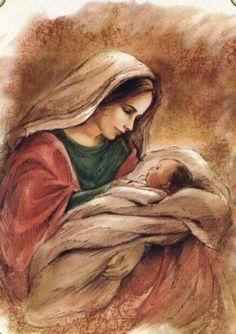 Mary and her child Jesus.