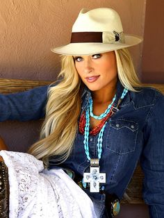 ~ She's done it again! Brit West's Spring/Summer 2015 looks depicting the American Southwest. A Panama hat, denim shirt worn with a fab lace skirt, cowboy boots and OOAK turquoise jewels set off this outfit. ~