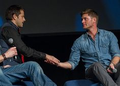 Photo by Karen Cooke Jensen And Misha, Jensen Ackles, Supernatural Dean, Cockles, Misha Collins, Destiel, Superwholock, Guys, People