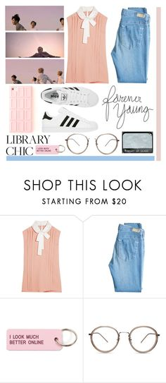 """""""Spring Day - BTS"""" by princess-malik-styles ❤ liked on Polyvore featuring Miu Miu, AG Adriano Goldschmied, adidas, NARS Cosmetics and Various Projects"""